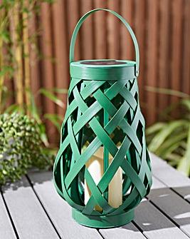 Green Rattan Solar Lantern