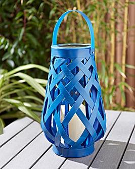 Blue Rattan Solar Lantern