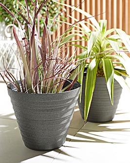 Set of 2 Sandblasted Planters
