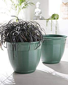 Set of 2 Ribbed Planters