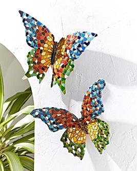 Set of 2 Mosaic Butterflies