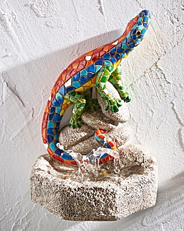 Mosaic Gecko Bird Bath