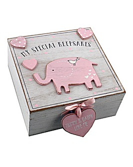 Petit Cheri Pink Elephant Keepsake Box