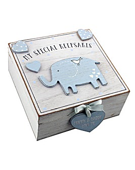 Petit Cheri Blue Elephant Keepsake Box