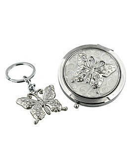 Butterfly Compact Mirror and Keyring Set