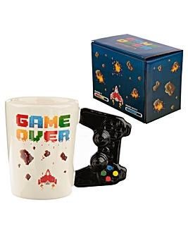 Retro Gaming Shaped Handle Ceramic Mug