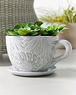 Leaf Teacup Embossed Planter