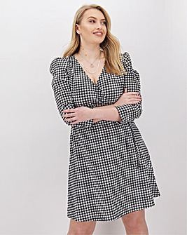 Pink Clove Puff Sleeve Wrap Dress