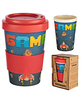 Bambootique Eco Friendly Reusable Retro Gaming Design Bamboo Travel Mug
