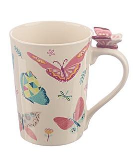 Butterfly Shaped Handle Ceramic Mug