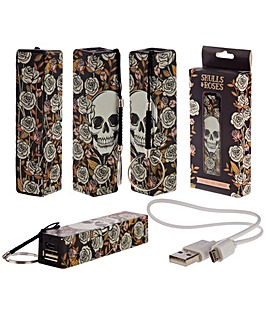Skull & Roses Portable USB Power Bank