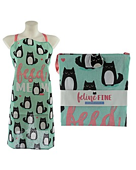Feline Fine Cat Design Poly Cotton Apron