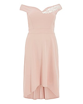 Quiz Curve Sweetheart Dip Hem Dress