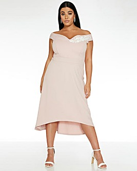Quiz Curve Sweetheart Dip Hem Dress