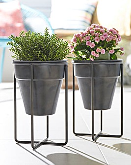 Set of 2 Metal Stand Planter