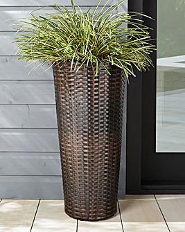 Tall Round Rattan Planter