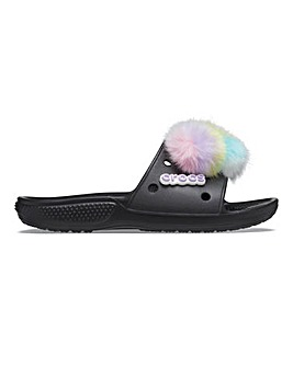 Crocs Classic Faux Fur Slide D Fit