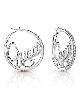 Guess Authentics Logo Hoop Earrings