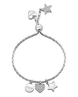 Guess Love Chain Toggle Charm Bracelet