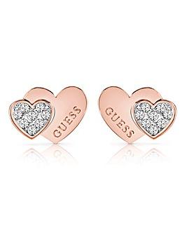Guess Me & You Double Heart Earrings
