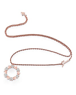 Guess Heart Bouquet Rose-tone Necklace