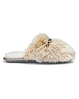 Pretty You Plush Close Toe Mule Slippers With Trim