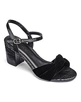 Heavenly Soles Block Heel Knot Detail Sandals Wide E Fit