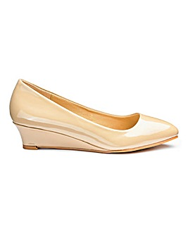 Low Wedge Point Court Shoes Wide E Fit