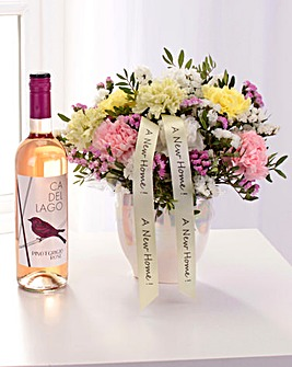 Personalised Pearl Arrangement and Wine
