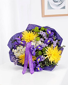Personalised Yellow Bloom Iris Bouquet