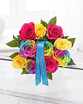 Personalised Small Rainbow Roses
