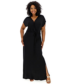 Black Wrap Front Maxi Dress