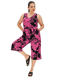 Fushia Floral Linen V Neck Jumpsuit