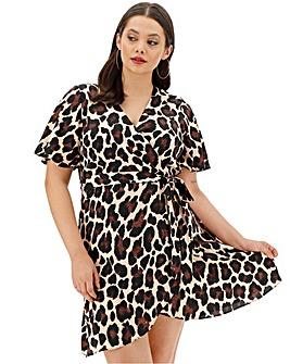 Animal Printed Wrap Dress
