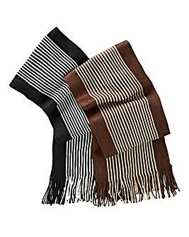 Set of 2 Mens Striped Scarves