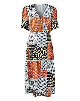Printed Button Through Wrap Dress