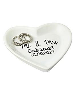 Personalised Wedding Heart Plate