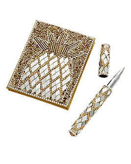 Pineapple Beaded Notepad and Pen
