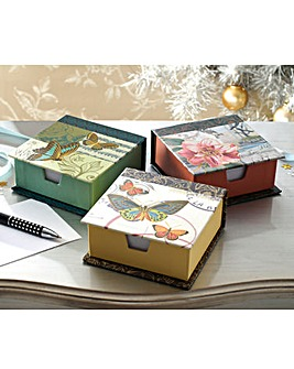 Butterfly and Flower Memo Box Set of 3