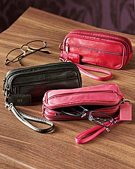 Leather Double Glasses Case