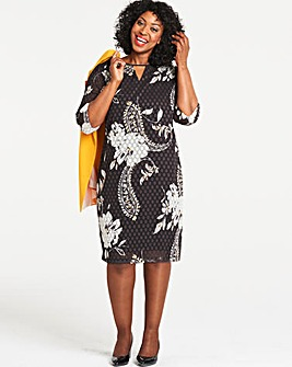 Black Paisley Print Dobby Shift Dress