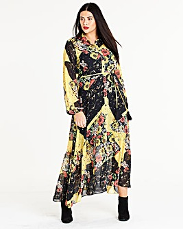 Maxi Peasant Patchwork Shirt Dress