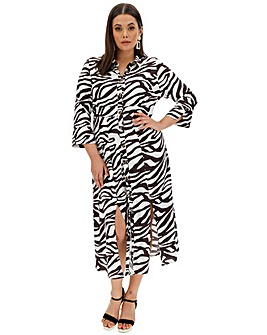 Zebra Print Split Front Shirt Dress