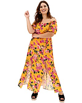 Yellow Floral Volume Sleeve Bardot Maxi Dress