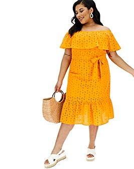 Yellow Bardot Brodierie Dress