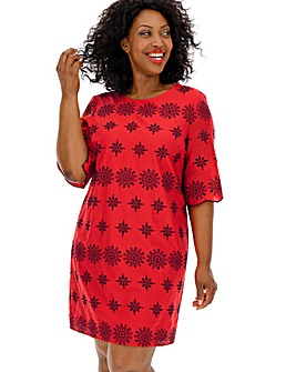 Red/Black Broderie Shift Dress