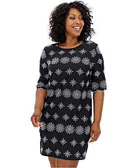 Black/Ivory Broderie Shift Dress