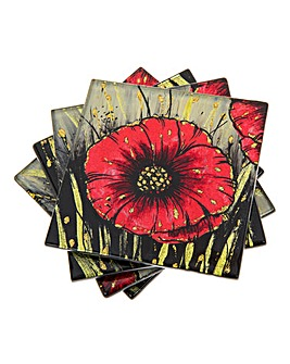 Poppy Set 4 Coasters
