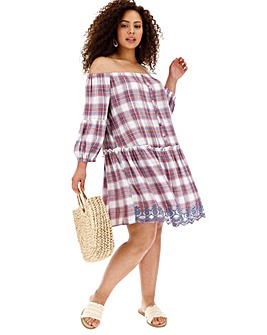Embroidered Check Bardot Dress with Frill Details