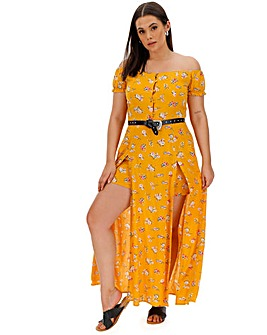 Saffron Print Dress with Shorts